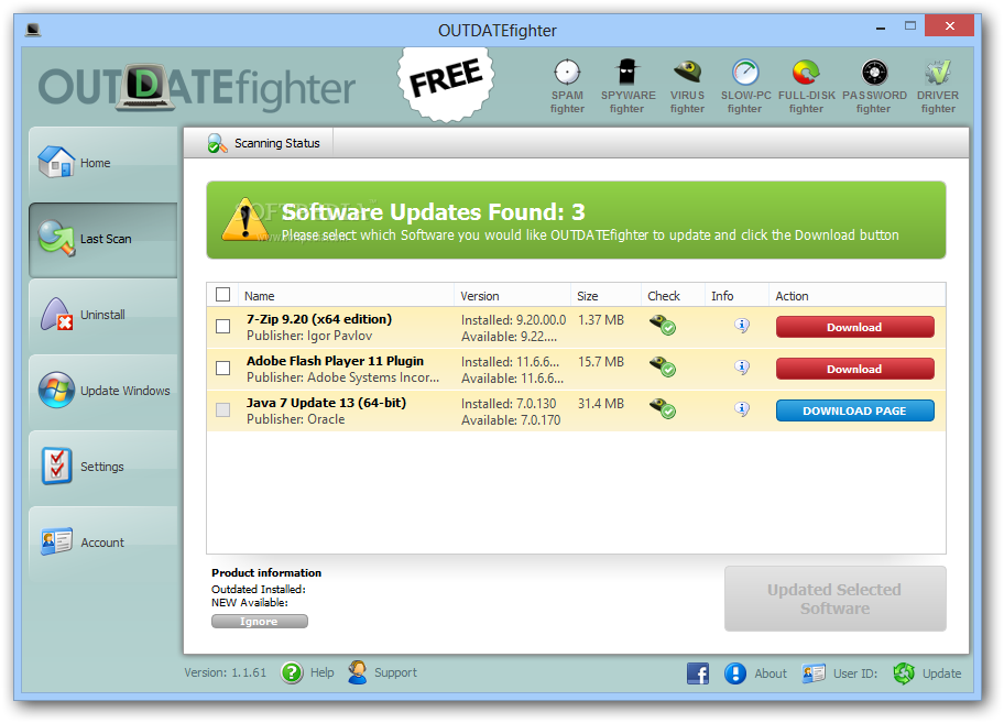 OUTDATEFighter Software Updater