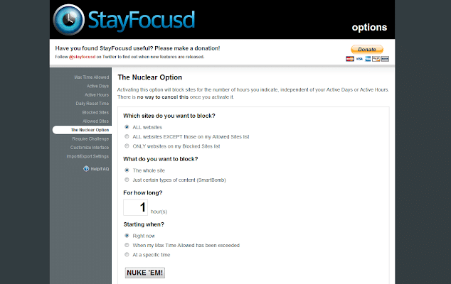 StayFocusd Chrome Extension